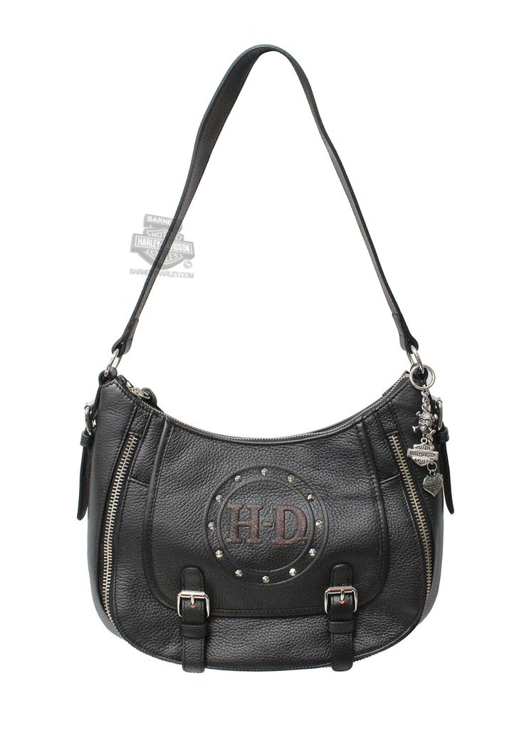 Harley-Davidson® | PC1523L-OR | Harley-Davidson® Womens H-D Debossed Classic Punk Hobo Black Leather Purse