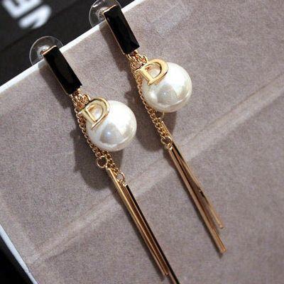 EH347 Tassels famous brand Di luxury jewelry pearl letter D pendientes brincos boucles d'oreilles bijoux earrings for women