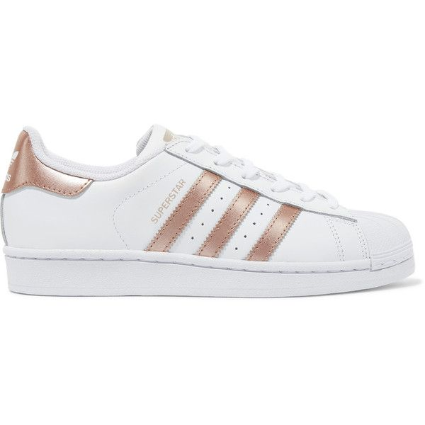 adidas Originals Superstar metallic-trimmed leather sneakers (345 AED) ❤ liked on Polyvore featuring shoes, sneakers, adidas, leather shoes, white lace up shoes, lace up sneakers, striped sneakers and white trainers