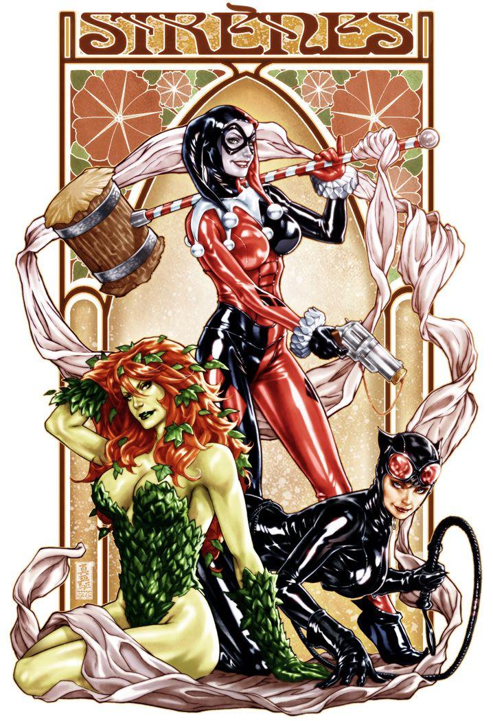 sirens: Art Nouveau, Harleyquinn, Gotham City, Gotham Sirens, Gotham Cities, Art Prints, Comic Book, Cities Sirens, Harley Quinn
