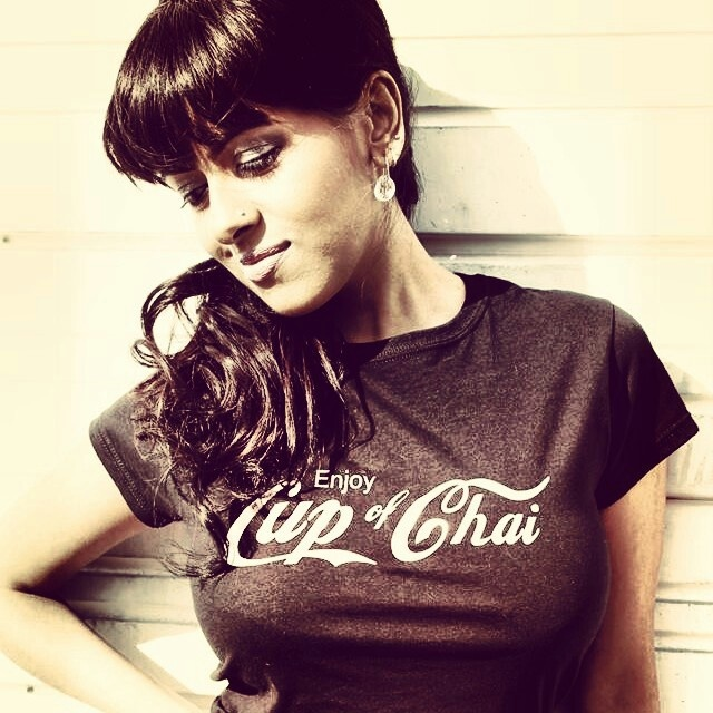 Karina wearing our Cup of Chai tshirt. Cool t-shirts with a South Asian flavour.