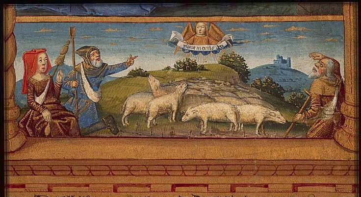 Of course the shepherdess spins. Though to be honest, that looks more like flax than wool on her distaff. The Hague, KB, 76 F 14