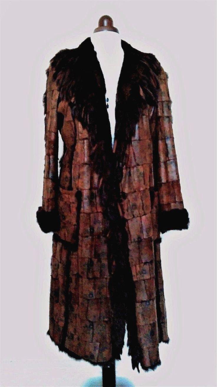 METEO by YVES SALOMON leather/ fur coat fringe fur collar UK14-EU42