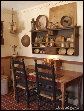 primitive decorating ideas :): Dining Rooms, Kitchens Design, Decor Ideas, Primitive Kitchens, Small Kitchens, Wall Display, Small Spaces, Design Home, Primitive Decor
