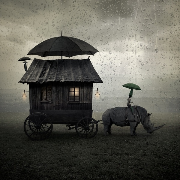 vardo: The Journey, The Roads, Leszekbujnowski, Mobiles Home, Inspiration, Leszek Bujnowski, Photo Manipulation, Unusual Art, Night Circus