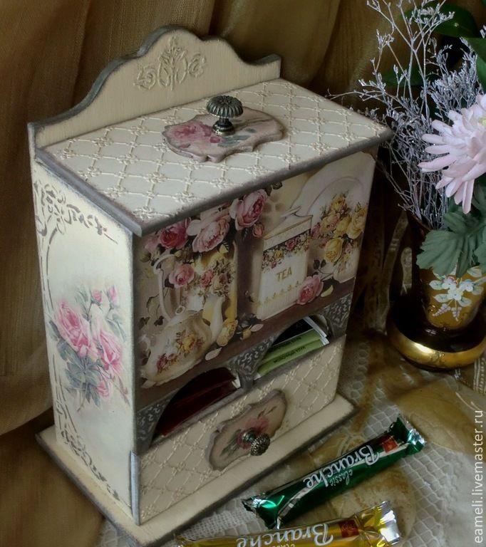 """Купить Чайный буфетик """"Чайные розы"""" - бежевый, розы, винтаж, винтажный стиль, старинный стиль"""