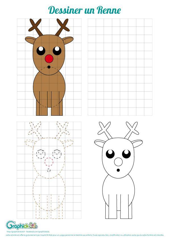 L Activite Du Mercredi Dessiner Un Renne Graphick Kids Dessin Renne Dessin Dessin Enfant