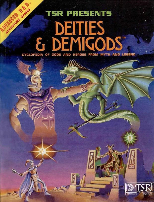 Deities & Demigods (1e) | Book cover and interior art for Advanced Dungeons and Dragons 1.0 - Advanced Dungeons & Dragons, D&D, DND, AD&D, ADND, 1st Edition, 1st Ed., 1.0, 1E, OSRIC, OSR, Roleplaying Game, Role Playing Game, RPG, Wizards of the Coast, WotC, TSR Inc. | Create your own roleplaying game books w/ RPG Bard: www.rpgbard.com | Not Trusty Sword art: click artwork for source