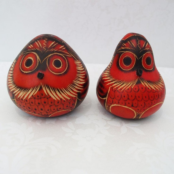 Owls Carved Gourds Painted Gourds Vintage Art by WhimzyThyme, $21.00