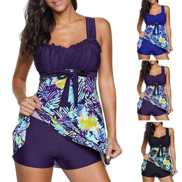 Beach dress print split bow dress type two pieces large size swimsuit