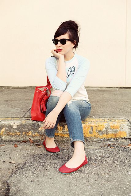 Fashion blogger Keiko Lynn in Cardinal Red #Tieks