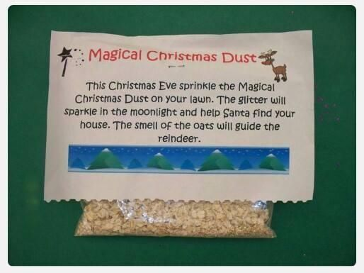 Magical Christmas Dust: Fill a small amount of oats into a sandwich bag and staple directions onto the the bag for your kids to enjoy. Sprinkle the magical oats on your lawn. Kids will love doing this!!