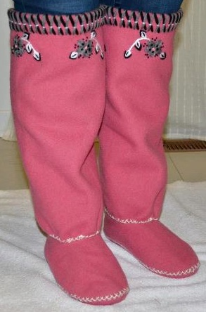 Inuit made embroidered pink duffle socks by Eva Sakiagak Audlaluk