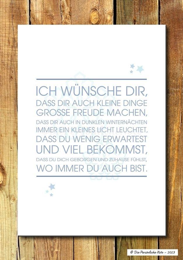 """Schlichter Segenswunsch für Weihnachten und zur Winterzeit """"Ich wünsche dir, dass dir auch kleine Dinge große Freude machen …"""" - Druck/Wandbild/Print: Segenswunsch - Winter:"""