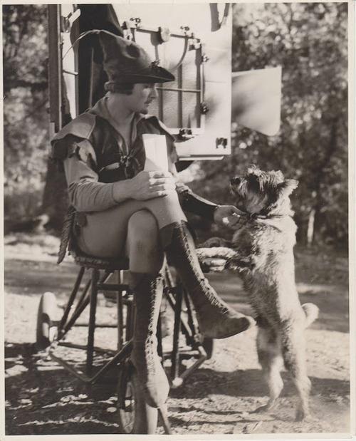 "Erroll Flynn & a pal on the ""Robin Hood"" set. I had such a crush on him when I was really little."