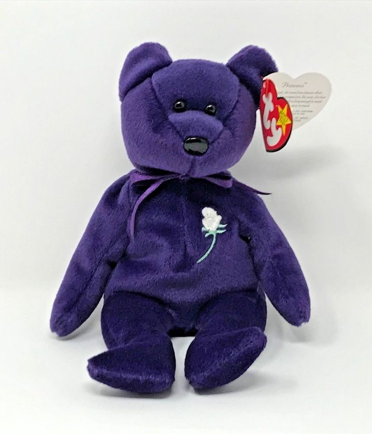 TY Beanie Baby PRINCESS DIANA Purple Teddy Bear Tag 1997 Retired Collectible #Ty