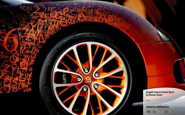 Bugatti Veyron Grand Sport by Bernar Venet. http://www.nuvolari.tv/anteprime/bugatti-veyron-grand-sport-bernar-venet/bugatti-veyron-dettaglio-ruota
