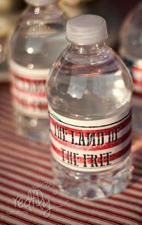 Free Patriotic Picnic Printable Water Bottle Labels #labels #waterbottle