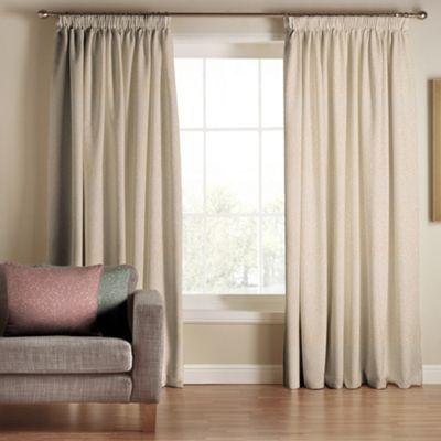 Tru Living Classique Beige Polyester Cotton Lined Pencil Pleat Curtains- at Debenhams.com