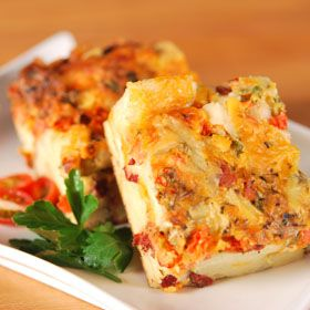 Tomato and Bacon Strata, from ATCO Blue Flame Kitchen.
