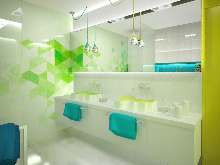 Nowoczesna kolorowa łazienka Pomysł na ciekawą łazienkę