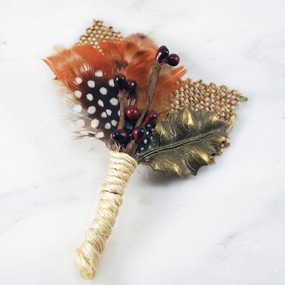 Rust Antique Gold Black and White Boutonniere by gildedshadows, $18.00