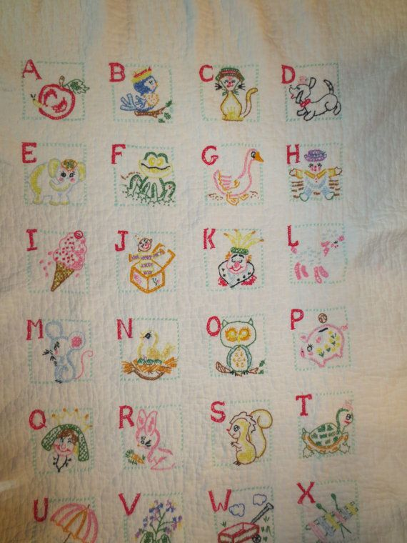 Vintage Handmade Childs Baby Quilt Embroidered Cross