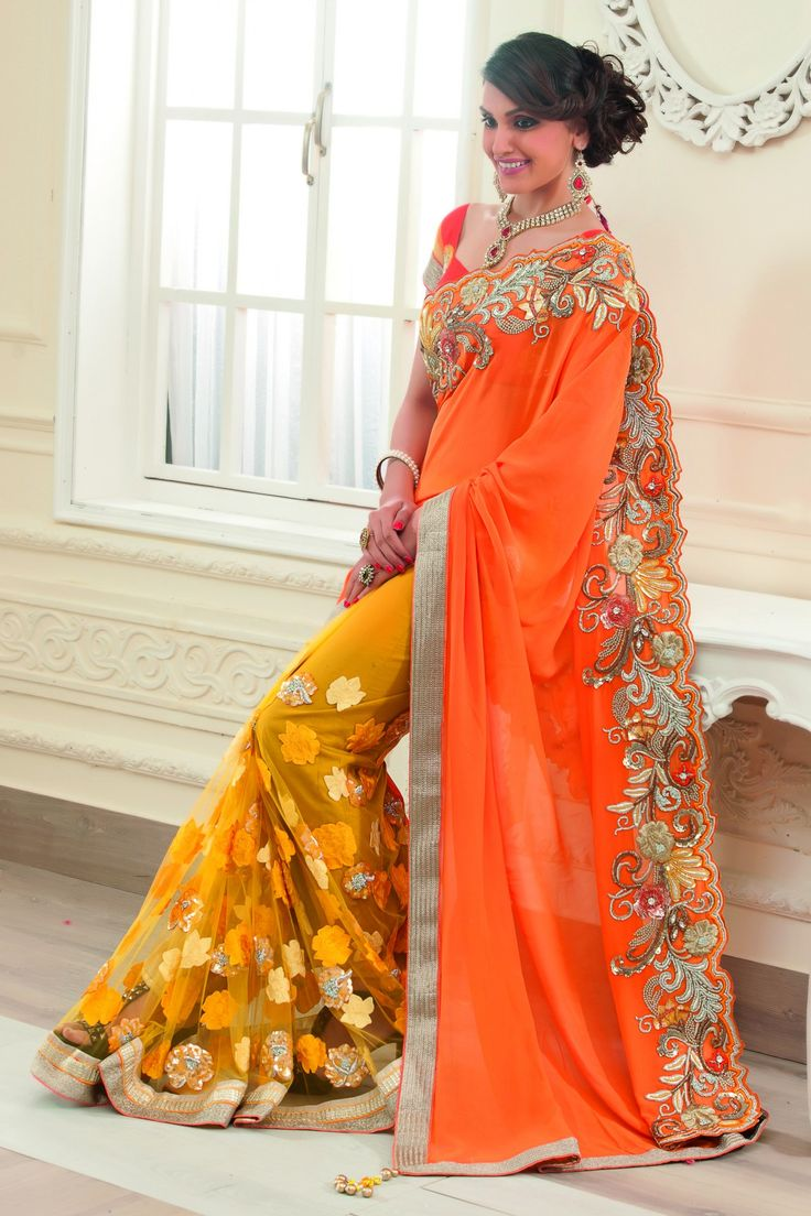Mustard georgette & net combo applique & stone worked saree