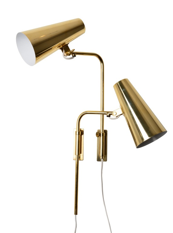 Paavo Tynell; Brass Wall Lamps for Taito Oy, 1950s.