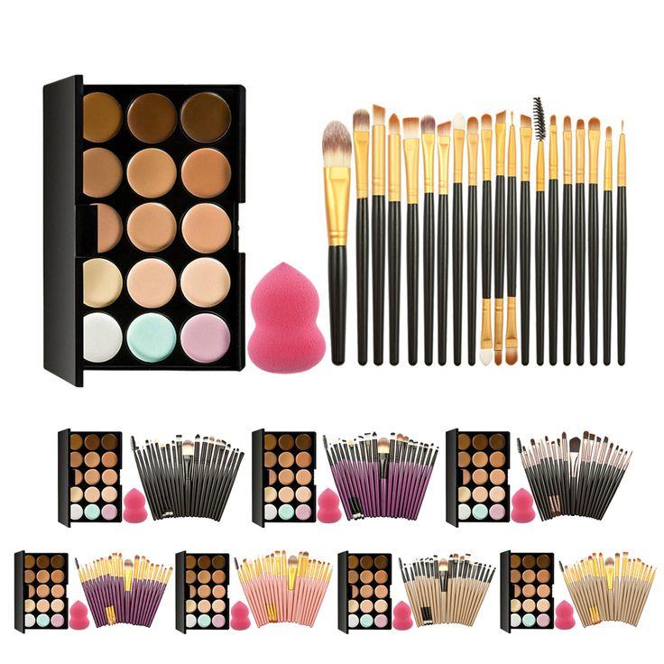 Pro 15 Colores de Maquillaje Crema Corrector Paleta Kits Con 20 Unids Fundación Blush Powder Cepillos Suave Soplo Cosmético Esponja GUB #
