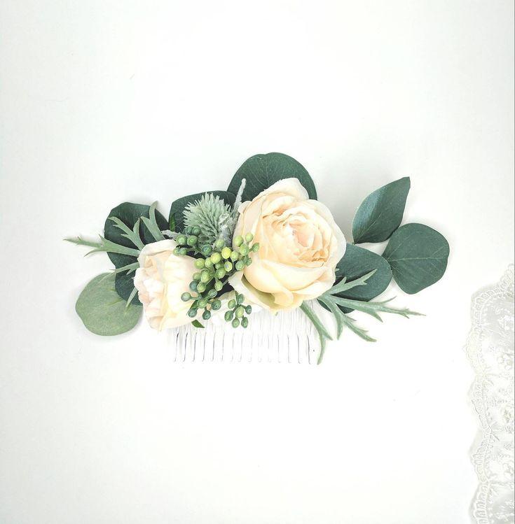 Cream and Seafoam Flower Comb | Garden Rose Thistle and Eucalyptus | Silk Flower Comb | Chic Wedding Comb | Thistle and Seeded Eucalyptus