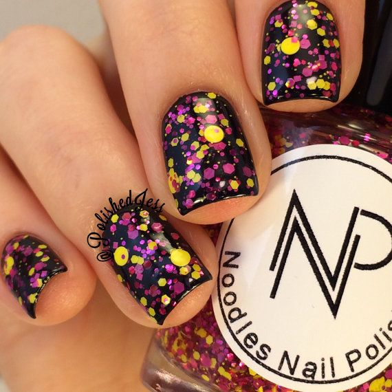 Pineapple Punch-Yellow and Fuschia Glitter Topper Indie Nail Polish by Noodles N…