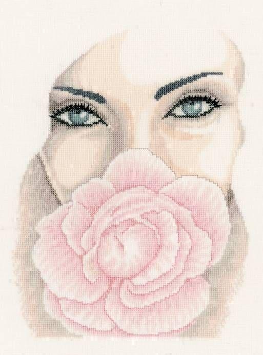 0 point de croix femme romantique fleur - cross stitch romantic girl flower