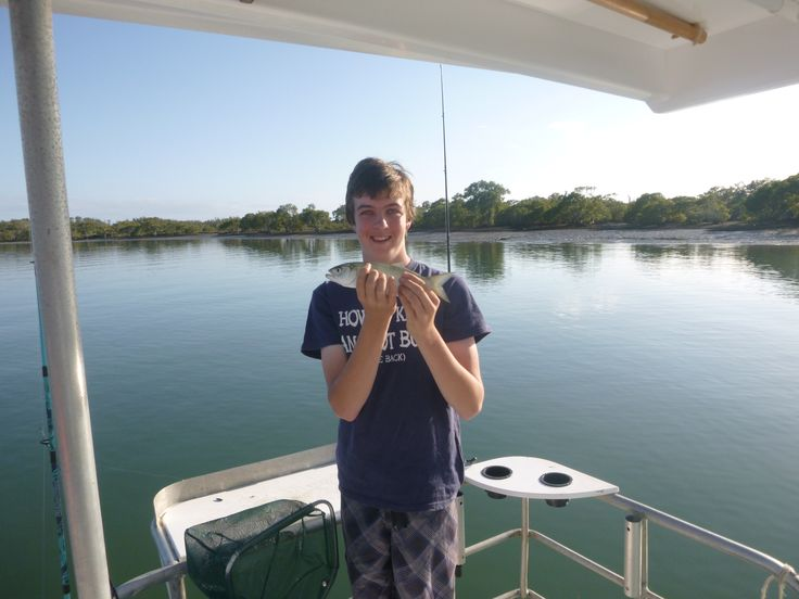 Fun on board The Colleen Ann, plenty of fish, plenty thrown back, and some legal mud crabs caught! #fishing #kids #school #schoolholidays #fish #tailor #houseboat #houseboatrental #rentaboat #Australia #GoldCoast @coomerahouseboats