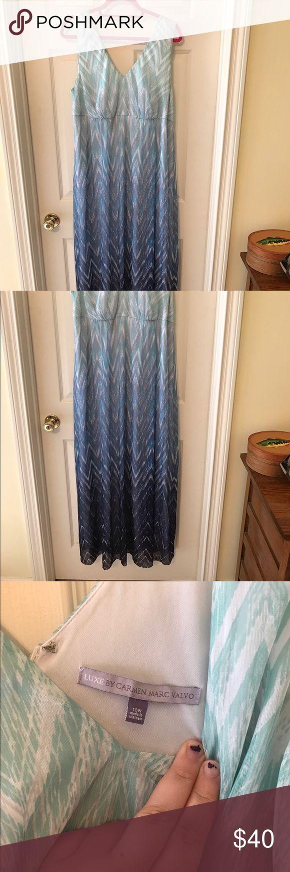 Dress barn 22/24w blue chevron maxi dress Dress barn maxi dress with chevron blue tea silver pattern size 18w but fits like a 22/24w (I wear that size and still wear it) Dress Barn Dresses Maxi