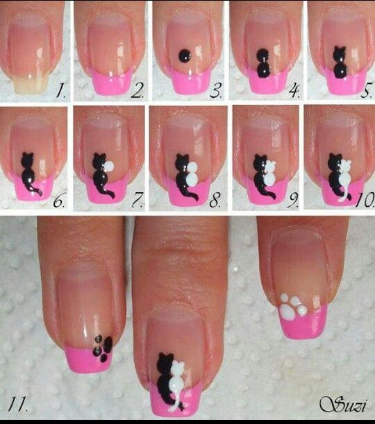 Easy cat nail design