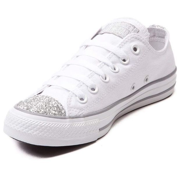 womens white glitter converse