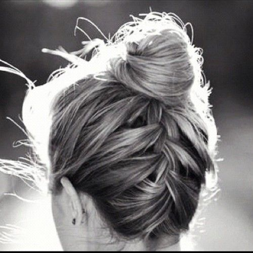 braid into bun updo for thin hair