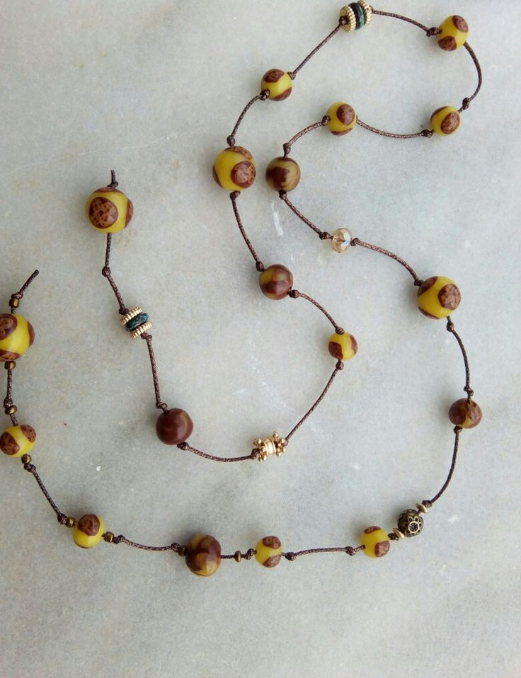Long open necklace with millefiori handmade clay beads and string inspiration by my friend Maria Papadaki. Thank you.