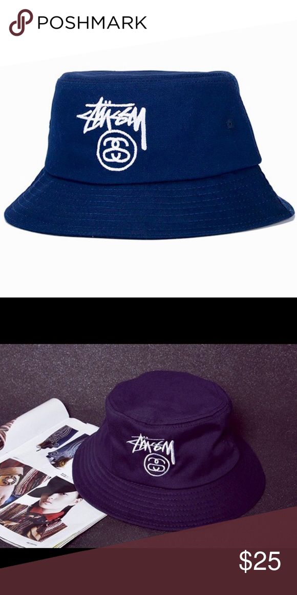 NEW - Navy Blue Stussy Bucket Hat only have 1 of these! it will be here in a couple weeks. 1 of a kind rare navy blue 100% authentic Stussy bucket hat. One adult L size. From my wholesaler so no store tags, comfortable hat! I have a ton of these in black & white, white & black, & a few in red & white listed in my closet! Stussy Accessories Hats