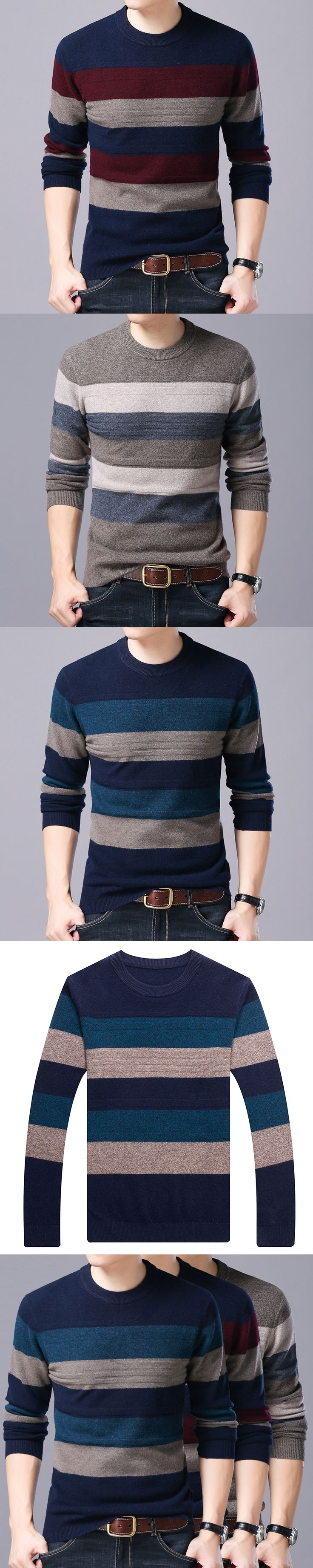 100% Wool Cashmere Sweater Men Winter Christmas Thick Warm Cashmere Sweaters Fashion Gradient Color Print O-Neck Pullover Men