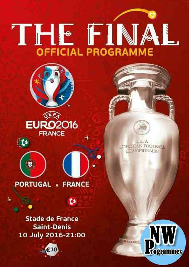 Portugal 1 France 0 in 2016 in Paris. The programme cover for the 2016 European Championship Final.