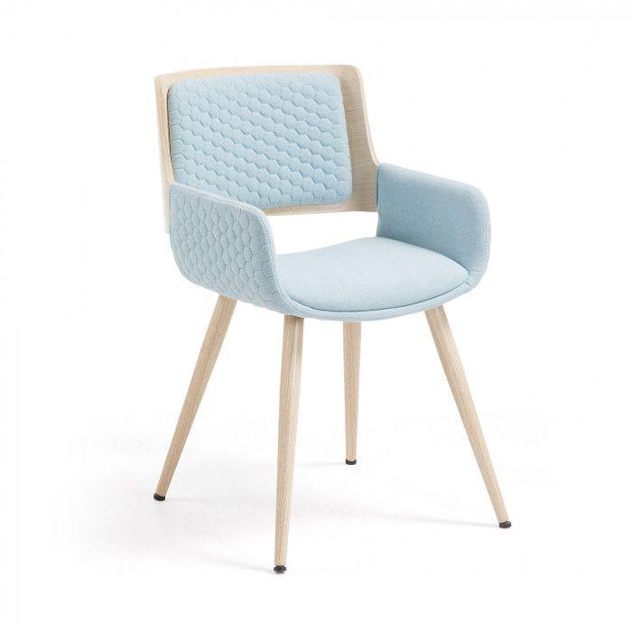 Chaise Avec Accoudoirs Angie Bleu Clair Kave Home Fauteuil De Table Fauteuil Capitonne Fauteuil