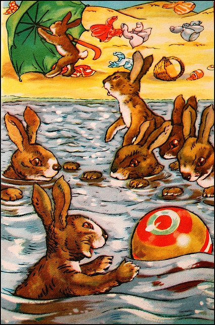 Bunny Swim    The Green Umbrella~Story and Illustrations by A.J. MacGregor~Published in England by Wills and HepworthLTd., Loughborough