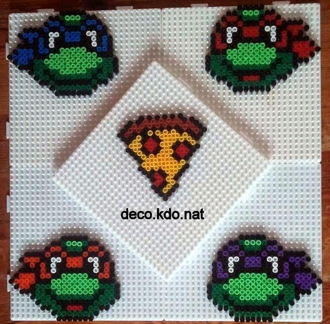 TMNT coaster set hama perler beads by Deco.Kdo.Nat