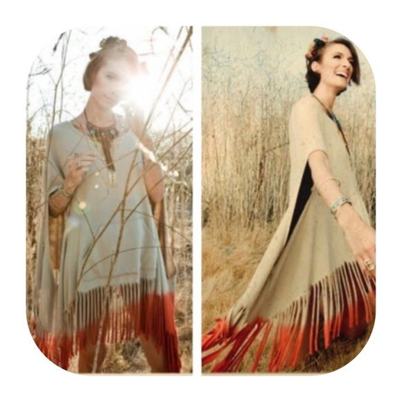 Upper class label pancho Fringe tate caftan - beige & orange two tone color Upper class label Tops Tunics