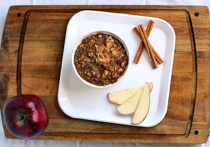 Baked Apple Pie Oatmeal | ½ cup organic rolled oats ¼ cup milk of ...
