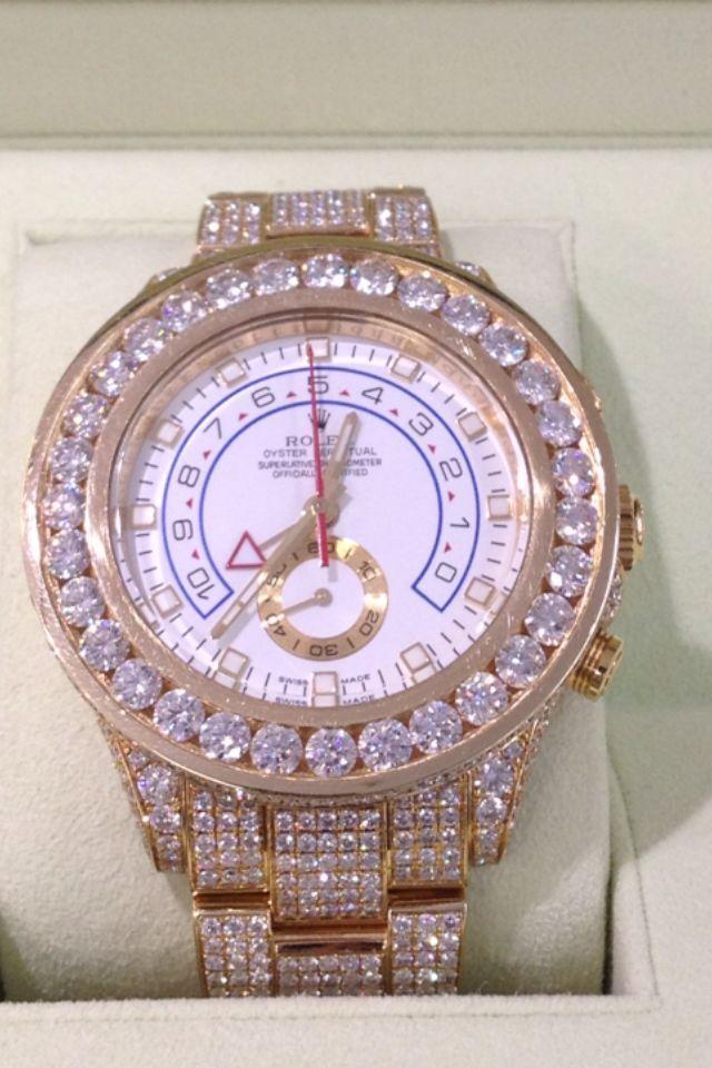 Rolex 18K Gold Yachtmaster II 2 Watch Model 116688 Full Diamond Watch 610074029694 | eBay $64,999.99