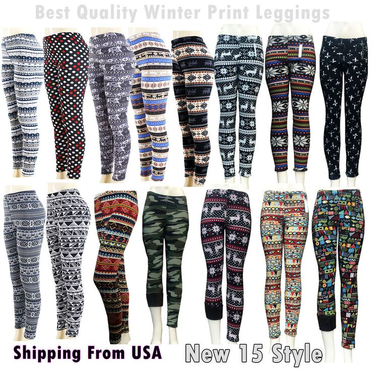 This is a must have Winter warm leggings with snowflakes print. Thick material than Summer leggings. This is One-Size leggings for Junior size. Brushed Fleece Fur Warm Aztec Tribal Print LEGGINGS Stretch Thick Winter Leggings. | eBay!