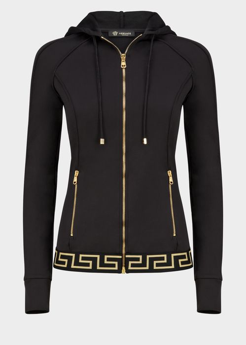 Versace Greek Key Sweatshirt for Women | US Online Store. Greek Key Sweatshirt from Versace Women's Collection. Greek Key frontal zip sweatshirt with hooded drawstring closure and zip pockets.